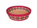 Round Wood Slat Bowl Red/Green Accents