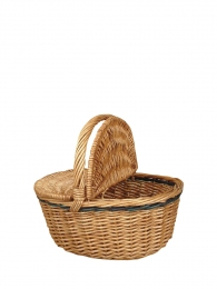 Willow Picnic Basket W/Green Accent