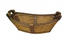 Oval Willow Boat Shape W/Wood Handles
